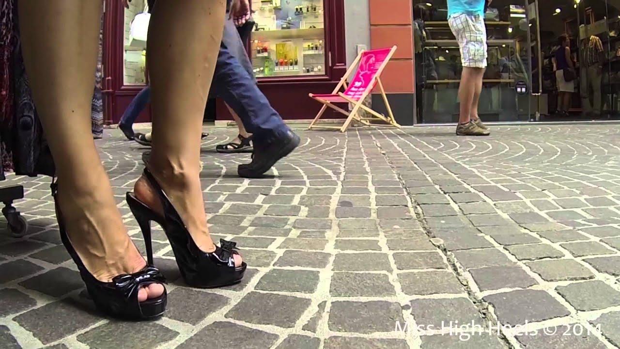 Short Skirt & High Heel Slingbacks for a Nice Walk in Town