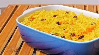 Indischer Curry Reis mit Rosinen - Vegan Vegetarisches Rezept