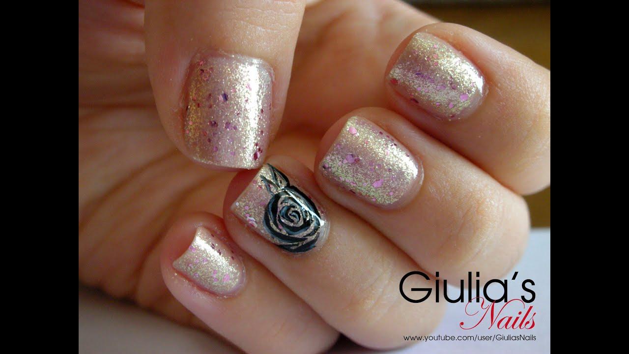 Nail Art Tutorial 138 Black Rose Youtube