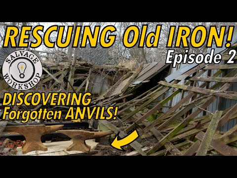 Rescuing OLD Iron ~ Two Anvils & A Flat Belt Pedestal Grinder ~ The Abandoned Dairy Farm ~ Episode 2