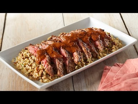 Grilled Mole Steak Over Garlic & Mushroom Quinoa By NOW Foods