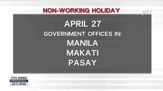 April 27-28, idineklarang Non-Working Holiday