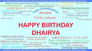 Dhairya   Languages Idiomas - Happy Birthday