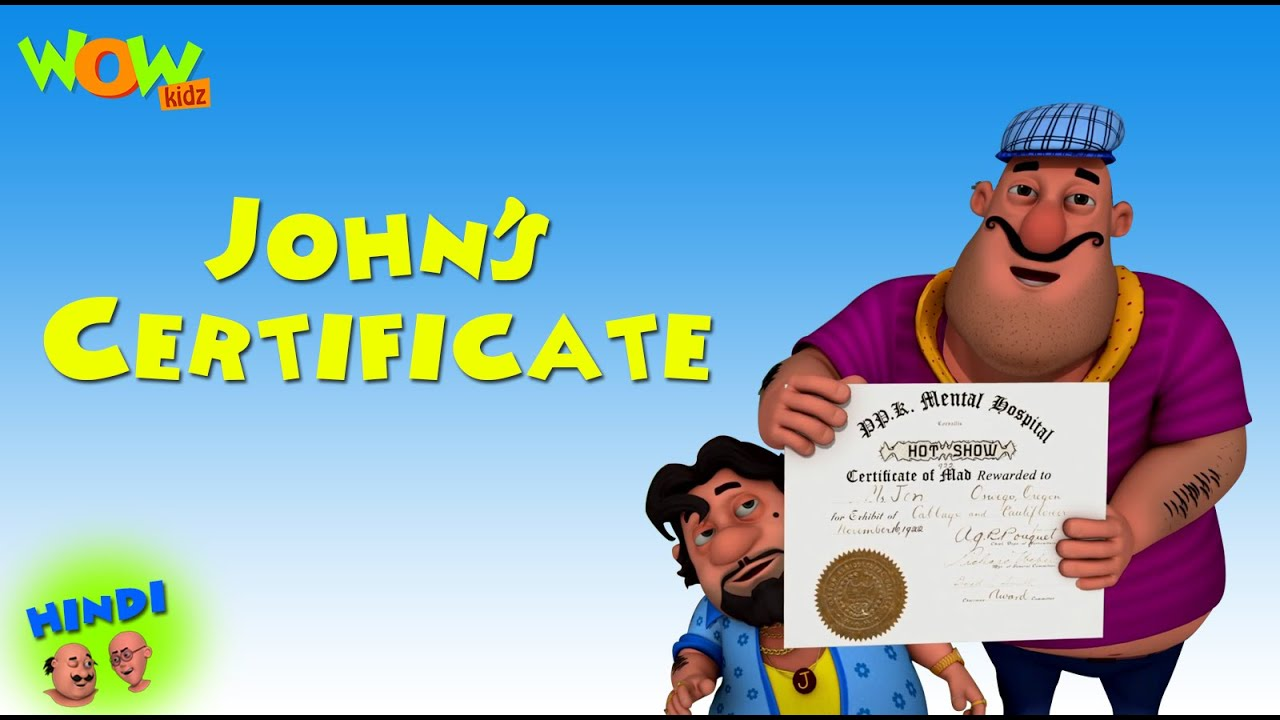 John's Certificate - Motu Patlu in Hindi WITH ENGLISH, SPANISH & FRENCH SUBTITLES