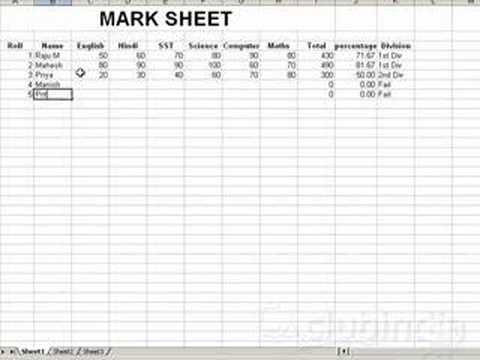 create mark sheet using M S Excel XP - YouTube