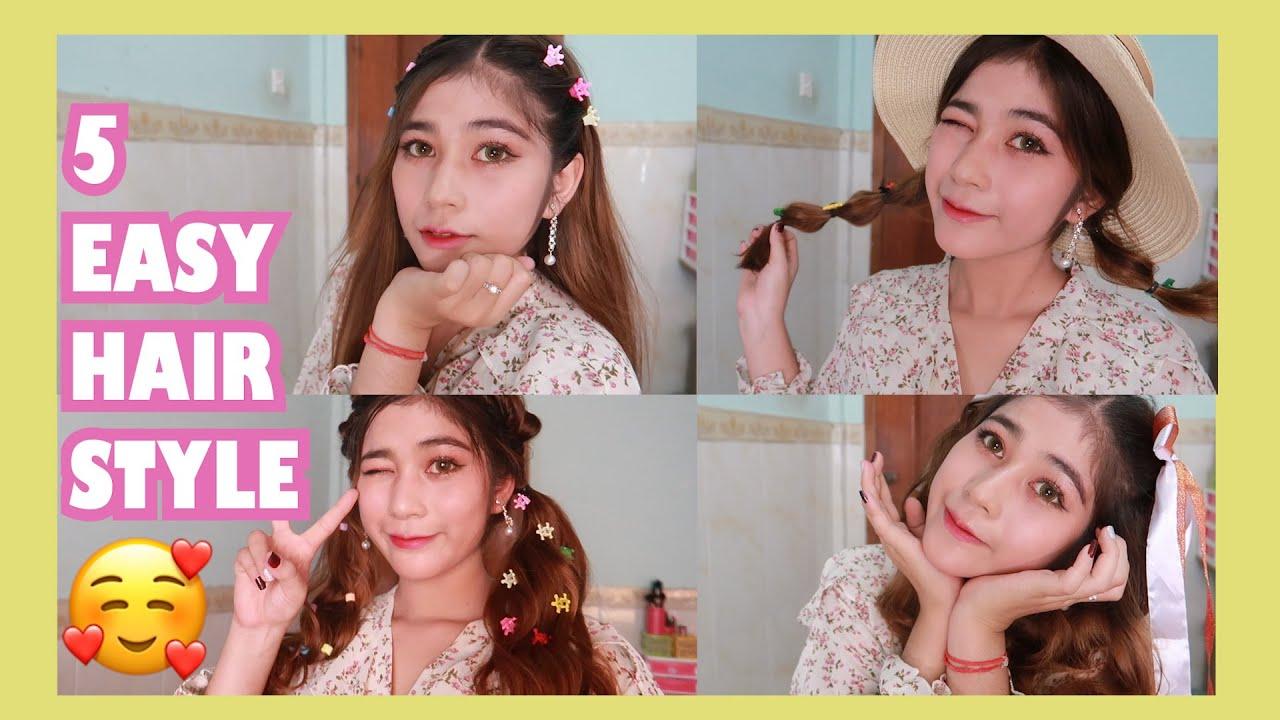 ♡៥ម៉ូតសក់ងាយៗ - 5 Easy HairStyle ♡