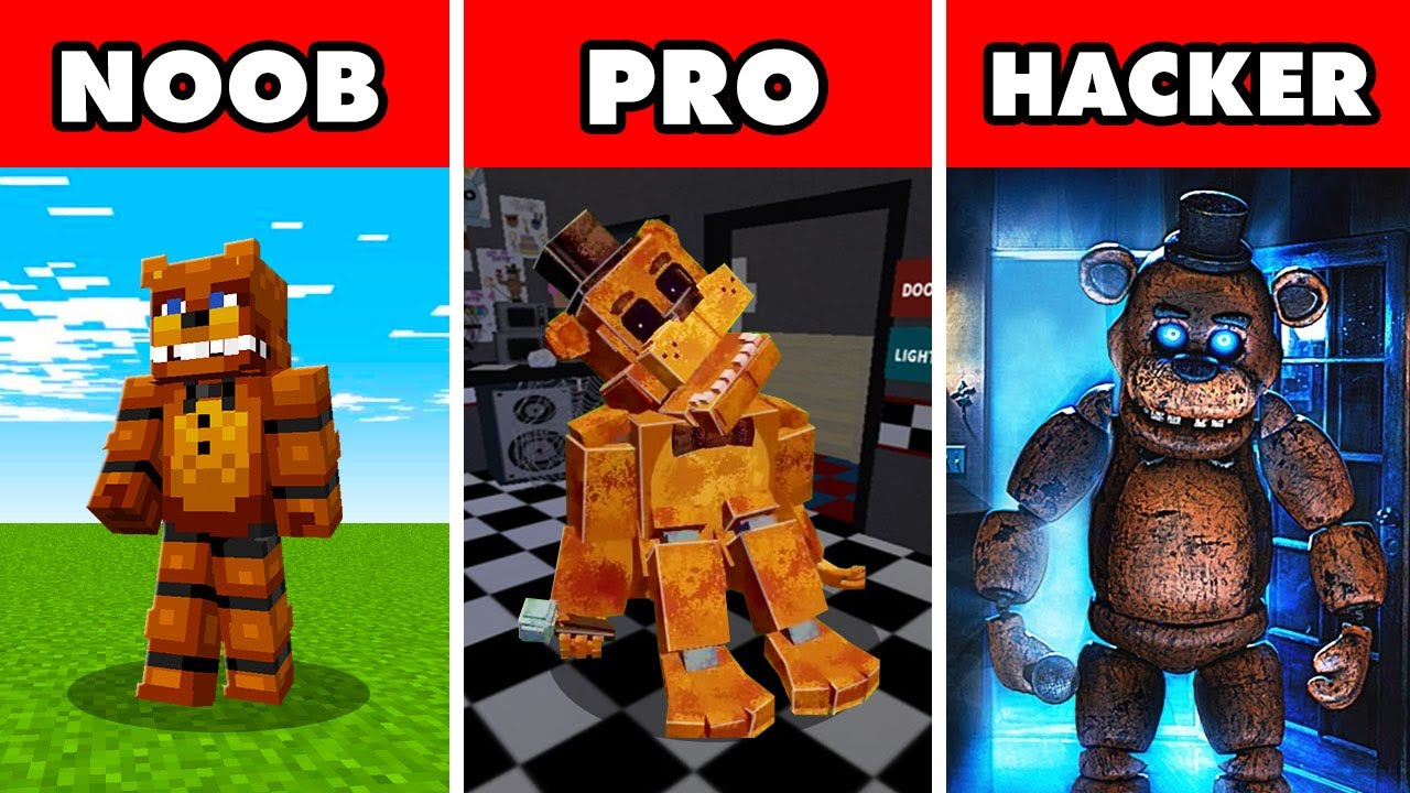 Noob vs. Pro vs. Hacker : FIVE NIGHTS AT FREDDY'S CHALLENGE! In Minecraft Animation