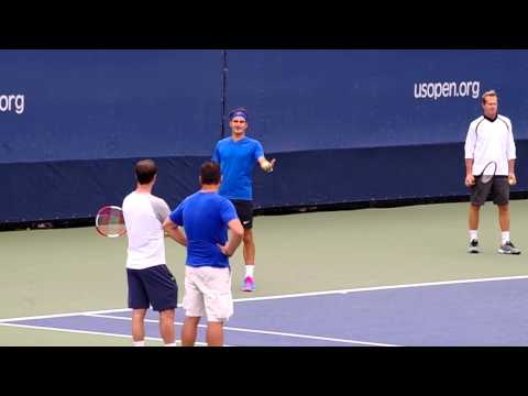 Roger Federer US Open Rally Practice 8/30/2014 2/2