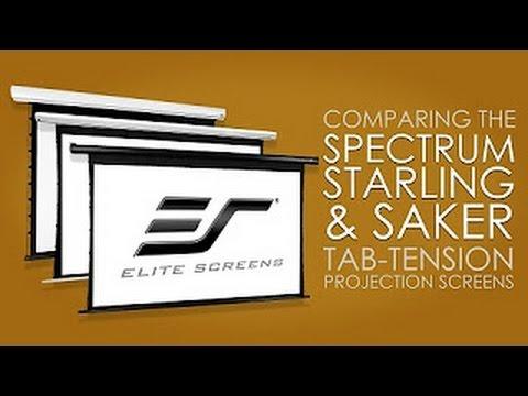 Vergleich Tension Leinwände Elite Screens Saker und Spectrum