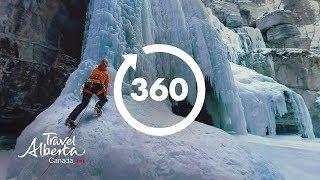 Ice Climbing in Maligne Canyon   360 Video   Google Jump 8K   Alberta, Canada