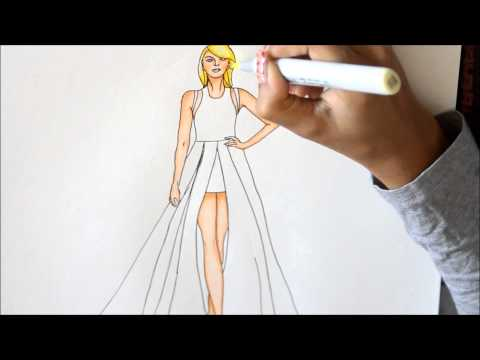 Fashion Illustration of Taylor Swift using Copic Markers.