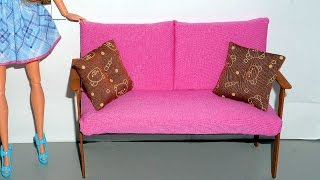 How to make a wooden couch or sofa for doll - miniature crafts DIY