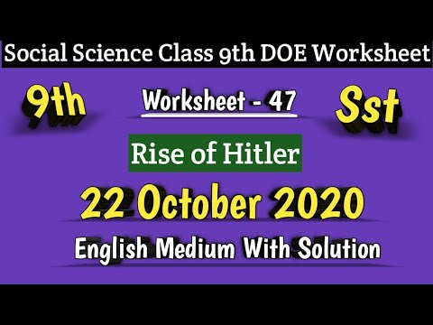 Class 9 Worksheet 47 Social Science Sst I DOE Worksheet 47 I 22 0ct 2020 I English Medium