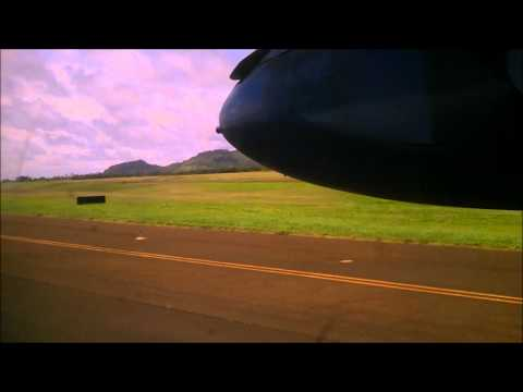Island Air  flight from Maui to Lihue and landing Bombardier