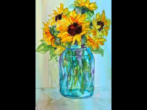 Sunflowers in a Glass Jar alcohol ink on Yupo