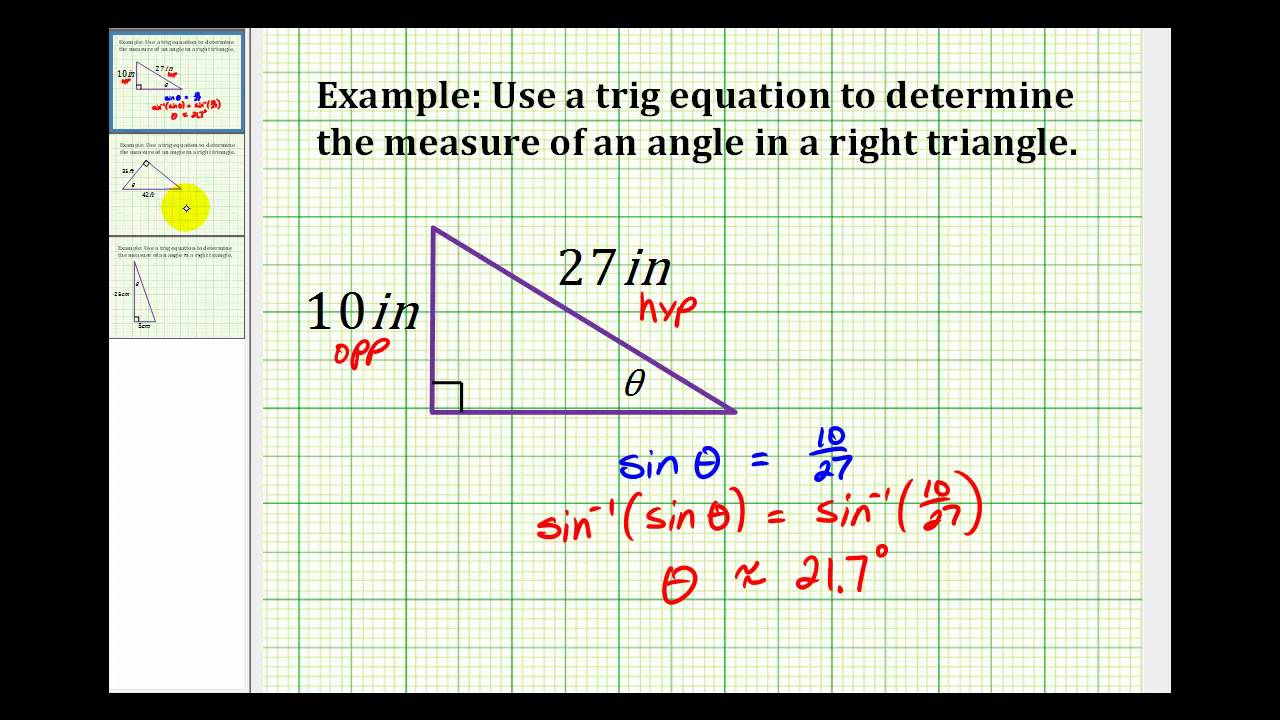 Measure Of An Angle : Example determine the measure of an angle a right