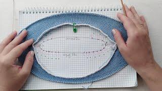 Вязание. Мк. Росток с углублением горловины по переду и по спинке изделия. Knitting.