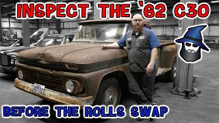 Inspect the '62 Chevy C30 before the CAR WIZARD starts the Rolls Royce engine swap