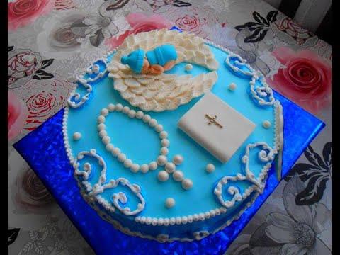 Торт на крестины для мальчика!!!Оформление!!!