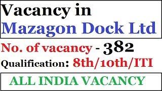 Mazagon Dock Recruitment | Trade Apprentices | Vacancy for 8th /10th/ ITI Pass