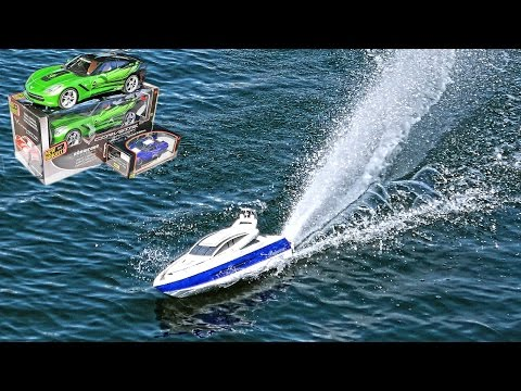 Remote controlled toys - speed motorboat and racing cars in Germany 4K Радиоуправляемые игрушки.