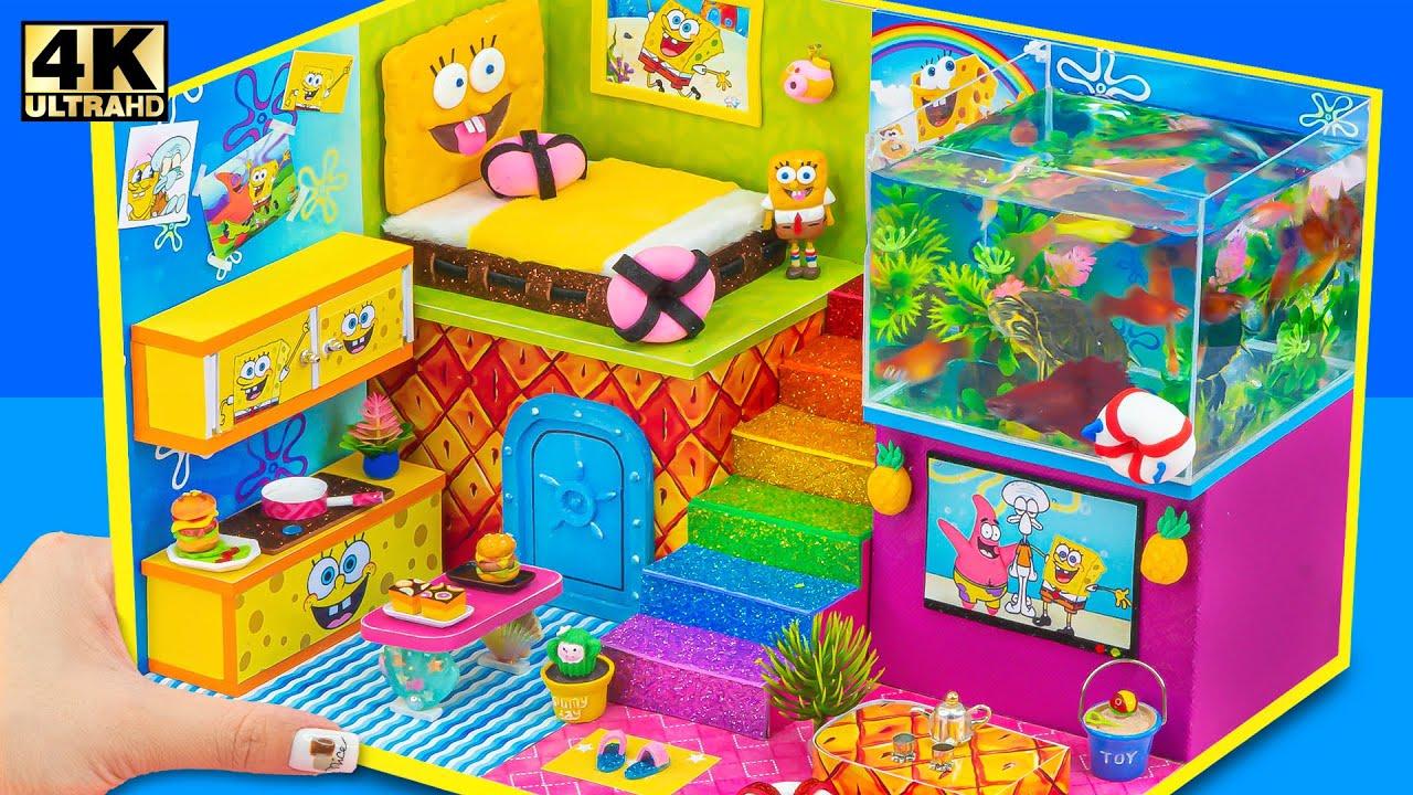 DIY Miniature House #205 ❤️ How To Make Mini Aquarium Inside Spongebob's House from Cardboard