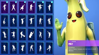 "*NEW* ""PEELY"" BANANA SKIN SHOWCASE WITH ALL FORTNITE DANCES & NEW EMOTES! (Fortnite Season 8 Skin)"