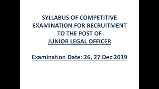 SYLLABUS OF RAJASTHAN JLO (JUNIOR LEGAL OFFICER) 2019