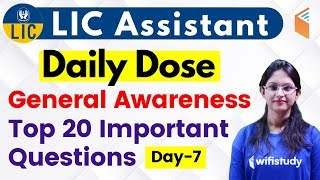 5:00 PM - LIC Assistant 2019 (Mains)   GA by Sushmita Ma'am   20 Important Questions (Day-7)