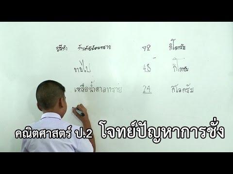 คณิตศาสตร์ ป.2 โจทย์ปัญหาการชั่ง ครูกุสุมา  บุญทะโชติ