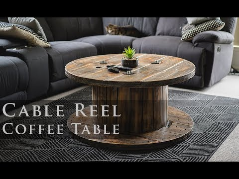cable reel coffee table distressed finish