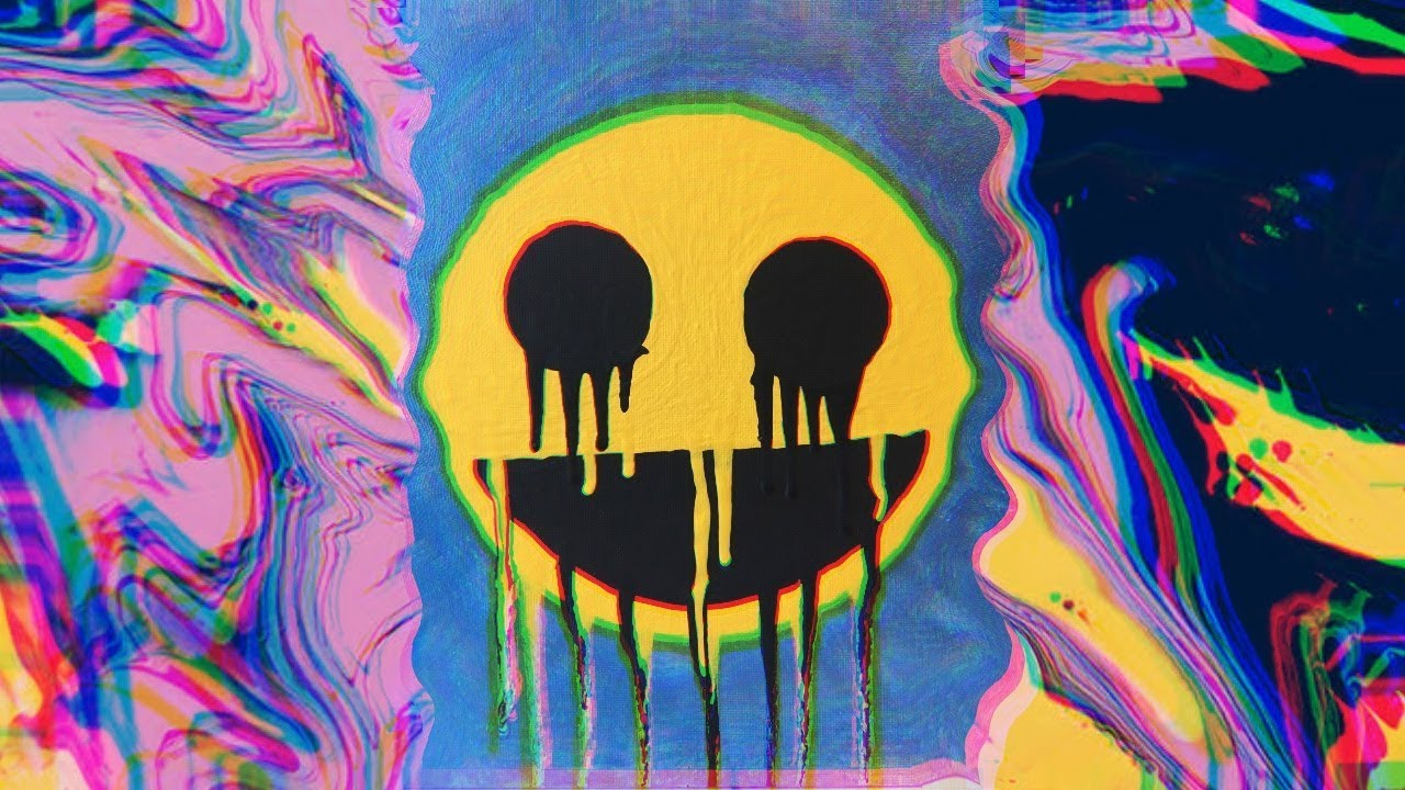 How To Paint A Dripping Smiley Face Acrylic For Beginners Trippy Painting Painting Time Lapse Youtube