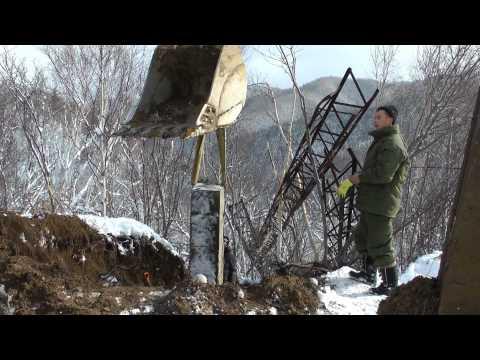 Первые кадры с места аварии на ЛЭП Холмск-Невельск