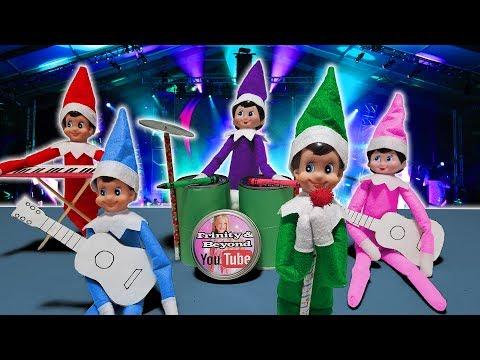 Purple & Pink Elf on the Shelf  Full Rock Band with Green Blue & Red Elves! Day 25