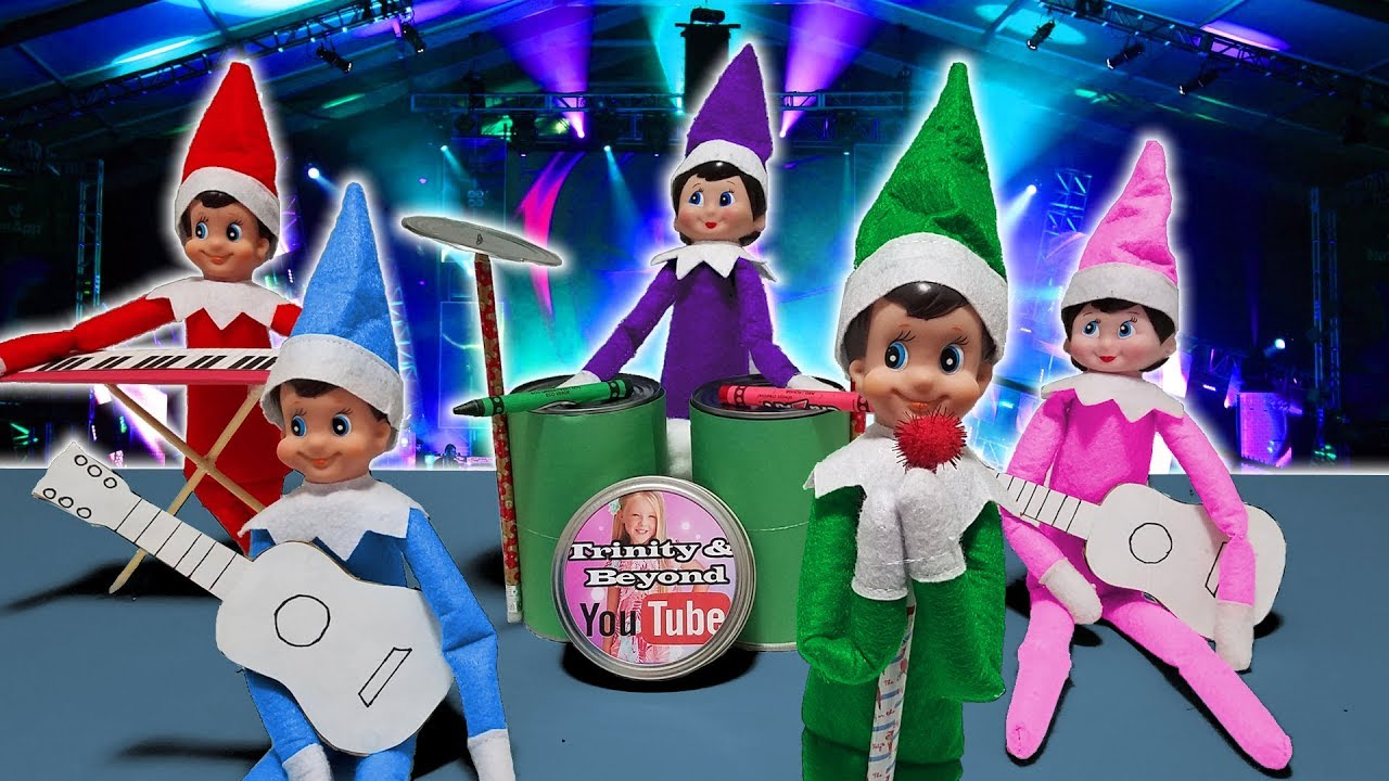 - Purple & Pink Elf On The Shelf - Full Rock Band With Green Blue