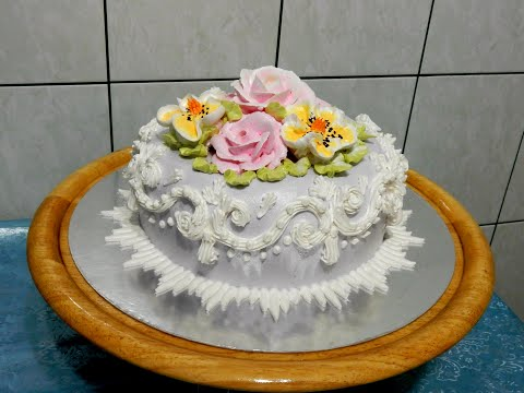 УКРАШЕНИЕ ТОРТОВ -Торт зимний сад, - cake decoration