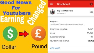 Good News For Youtubers | Amazing Update By YouTube | Earning Changed From $ to € |