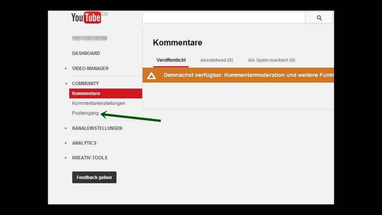 Youtube Posteingang