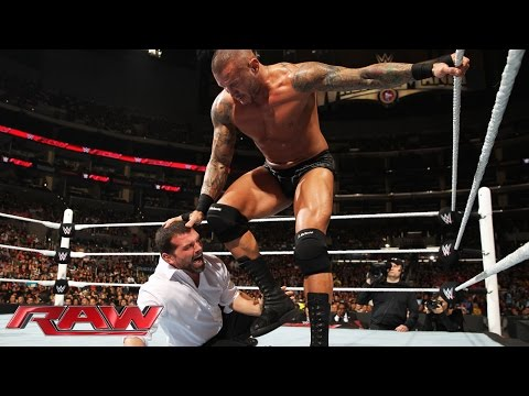 Randy Orton vs. Seth Rollins & J&J Security – WWE App Vote Match: Raw, March 23, 2015