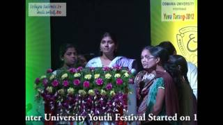 Yuva Tarang 2012 Central Zone Inter University Youth Festival  at Osmania University Video 6