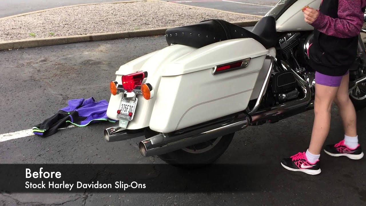 Stock Harley Slip-Ons vs. MGS Slip-Ons (Quiet Baffles) - YouTube