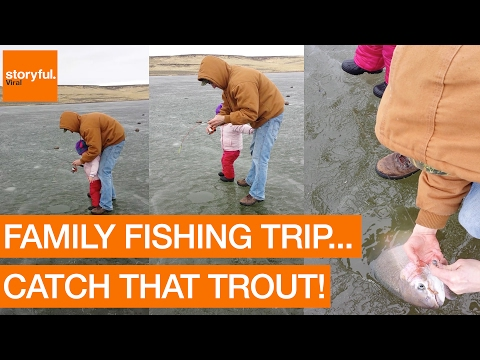 Family Catch Rainbow Trout During Ice Fishing Trip (Storyful, Crazy)