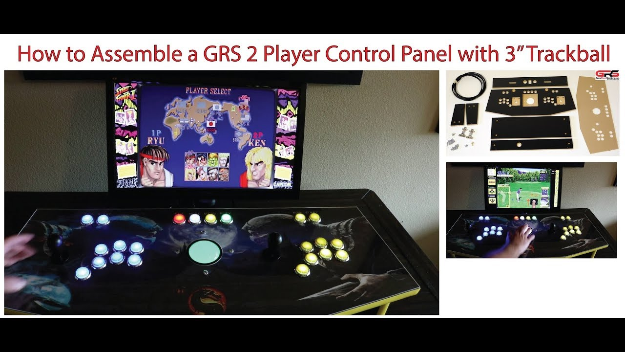 hight resolution of grs 2 player arcade control panel with trackball assembly video