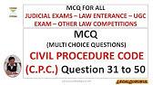 CPC - Civil Procedure Code 1908 - Question 1 to 30 MCQ