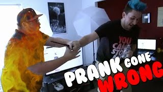 PRANK GONE WRONG: SET ON FIRE!