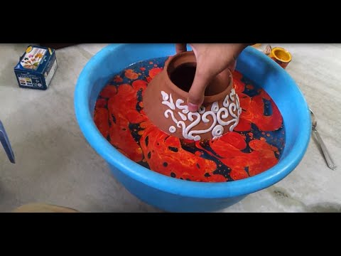 How to paint and decorate a pot using m seal youtube for Big pot painting designs