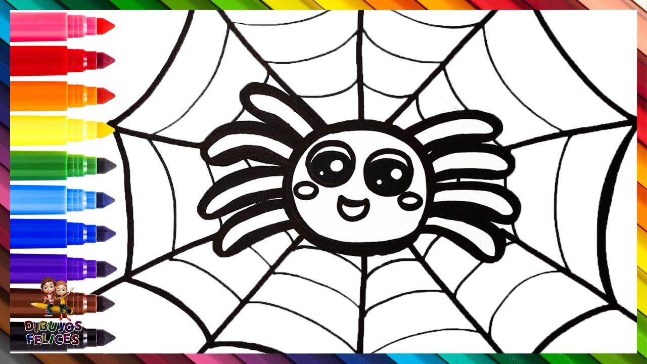 Cómo Dibujar Una Araña 🕷️ Dibuja y Colorea Una Linda Araña Arcoiris 🕸️🌈 Dibujos Para Niños