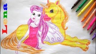 Fee mit Einhorn zeichnen - How to draw a fairy with Unicorn - как нарисовать фею с единорогом
