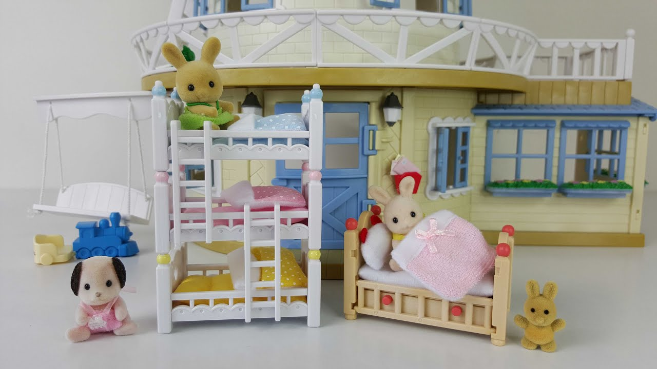 Triple Bunk Beds And Baby Crib Sylvanian Families Review Youtube