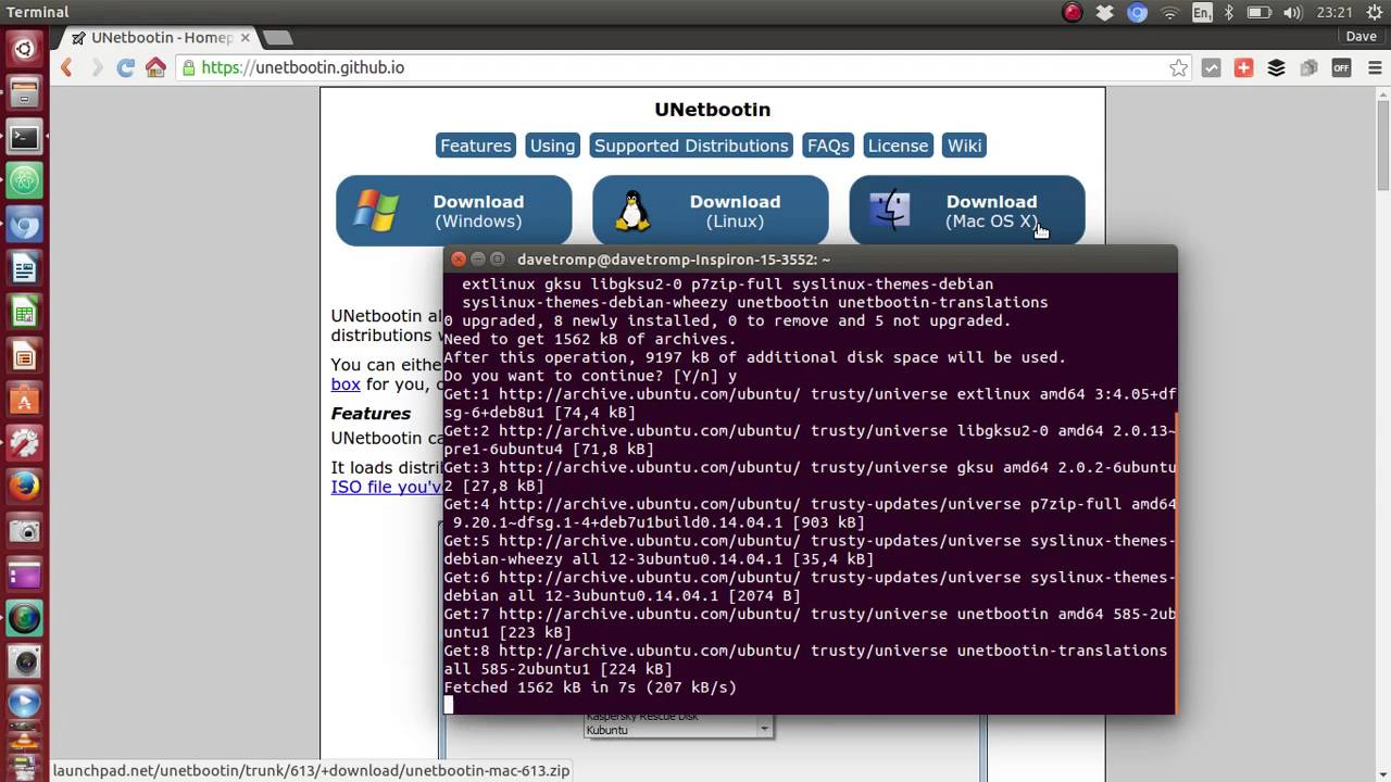 Using UnetBootin to make a Live Ubuntu usb startup disk